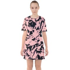 Old Rose Black Abstract Military Camouflage Sixties Short Sleeve Mini Dress
