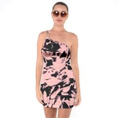 Old Rose Black Abstract Military Camouflage One Soulder Bodycon Dress