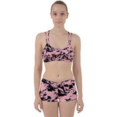 Old Rose Black Abstract Military Camouflage Women s Sports Set by Costasonlineshop