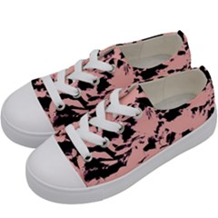Old Rose Black Abstract Military Camouflage Kids  Low Top Canvas Sneakers by Costasonlineshop