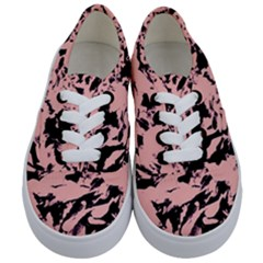Old Rose Black Abstract Military Camouflage Kids  Classic Low Top Sneakers