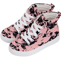 Old Rose Black Abstract Military Camouflage Kid s Hi Top Skate Sneakers by Costasonlineshop