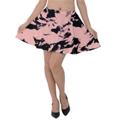 Old Rose Black Abstract Military Camouflage Velvet Skater Skirt by Costasonlineshop