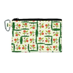 Plants And Flowers Canvas Cosmetic Bag (medium) by linceazul
