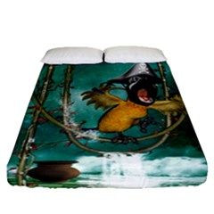 Funny Pirate Parrot With Hat Fitted Sheet (queen Size) by FantasyWorld7
