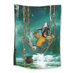 Funny Pirate Parrot With Hat Medium Tapestry by FantasyWorld7