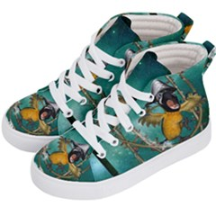 Funny Pirate Parrot With Hat Kid s Hi Top Skate Sneakers by FantasyWorld7