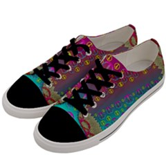 Years Of Peace Living In A Paradise Of Calm And Colors Men s Low Top Canvas Sneakers by pepitasart