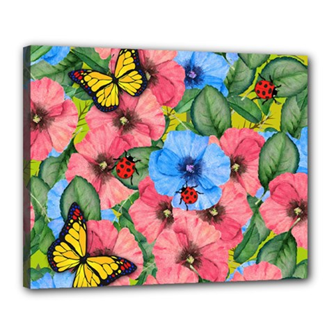 Floral Scene Canvas 20  X 16  by linceazul