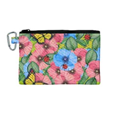 Floral Scene Canvas Cosmetic Bag (medium) by linceazul