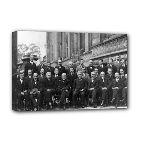 1927 Solvay Conference On Quantum Mechanics Deluxe Canvas 18  X 12   by thearts