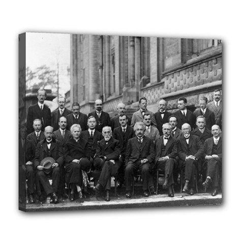 1927 Solvay Conference On Quantum Mechanics Deluxe Canvas 24  X 20   by thearts