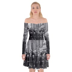 1927 Solvay Conference On Quantum Mechanics Off Shoulder Skater Dress
