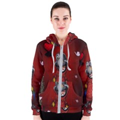 Funny, Cute Parrot With Butterflies Women s Zipper Hoodie by FantasyWorld7