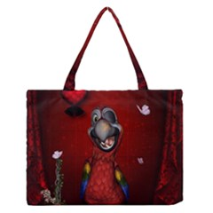 Funny, Cute Parrot With Butterflies Zipper Medium Tote Bag by FantasyWorld7
