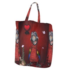 Funny, Cute Parrot With Butterflies Giant Grocery Zipper Tote