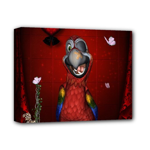 Funny, Cute Parrot With Butterflies Deluxe Canvas 14  X 11  by FantasyWorld7