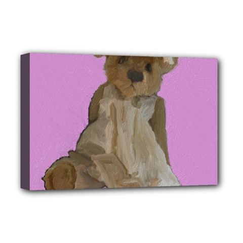 Ginger The Teddy Bear, By Julie Grimshaw 2018 Deluxe Canvas 18  X 12   by JULIEGRIMSHAWARTS