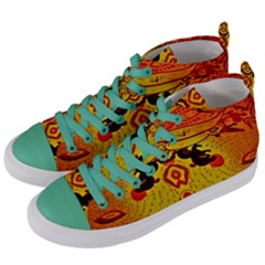 Green Sun Women s Mid Top Canvas Sneakers by MRTACPANS