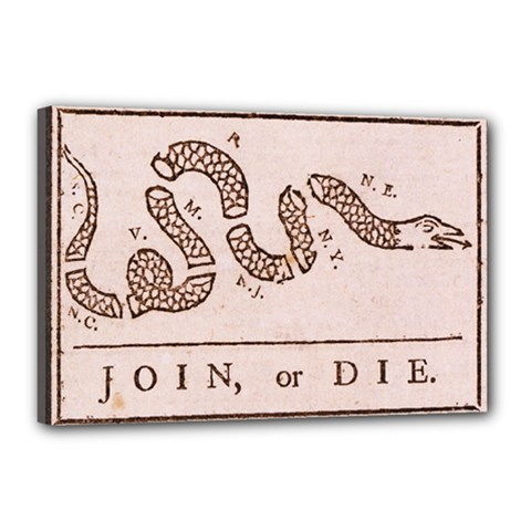 Original Design, Join Or Die, Benjamin Franklin Political Cartoon Canvas 18  X 12  by thearts