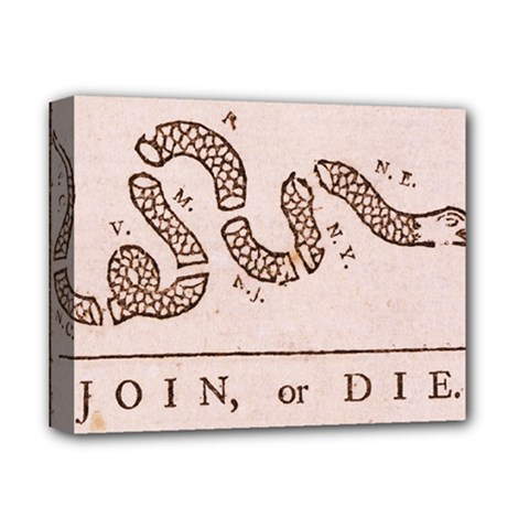 Original Design, Join Or Die, Benjamin Franklin Political Cartoon Deluxe Canvas 14  X 11  by thearts