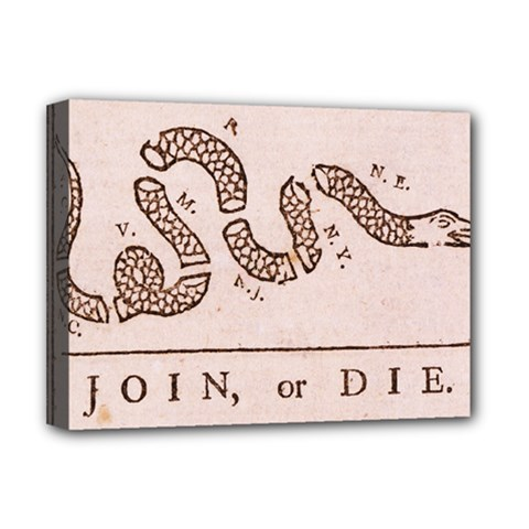 Original Design, Join Or Die, Benjamin Franklin Political Cartoon Deluxe Canvas 16  X 12   by thearts