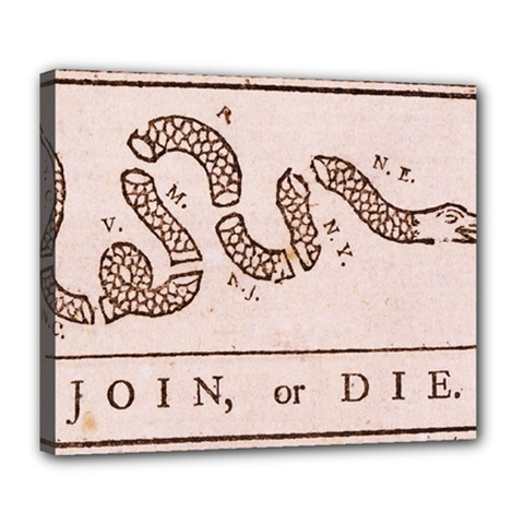 Original Design, Join Or Die, Benjamin Franklin Political Cartoon Deluxe Canvas 24  X 20   by thearts