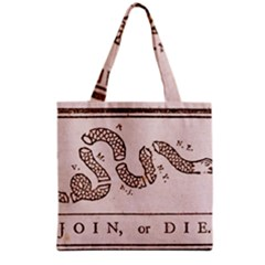 Original Design, Join Or Die, Benjamin Franklin Political Cartoon Grocery Tote Bag by thearts