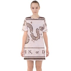 Original Design, Join Or Die, Benjamin Franklin Political Cartoon Sixties Short Sleeve Mini Dress by thearts