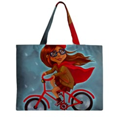 Girl On A Bike Zipper Medium Tote Bag by chipolinka