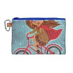 Girl On A Bike Canvas Cosmetic Bag (large) by chipolinka