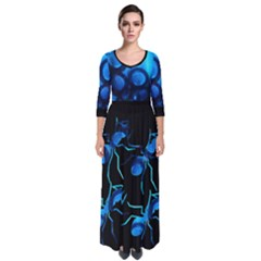 Sliding Blues Quarter Sleeve Maxi Dress by saprillika