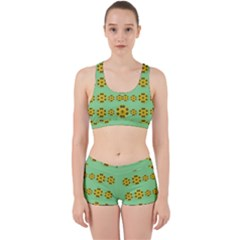 Sun Flowers For The Soul At Peace Work It Out Sports Bra Set by pepitasart
