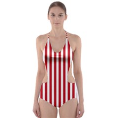 Red Stripes Cut-out One Piece Swimsuit by jumpercat