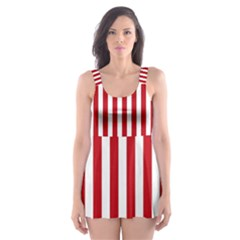 Red Stripes Skater Dress Swimsuit by jumpercat