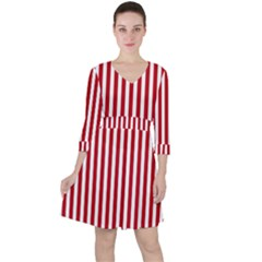 Red Stripes Ruffle Dress