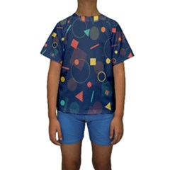 Blue Background Backdrop Geometric Kids  Short Sleeve Swimwear