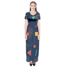 Blue Background Backdrop Geometric Short Sleeve Maxi Dress