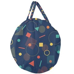 Blue Background Backdrop Geometric Giant Round Zipper Tote