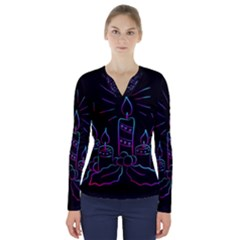 Advent Wreath Candles Advent V Neck Long Sleeve Top
