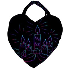 Advent Wreath Candles Advent Giant Heart Shaped Tote by Nexatart