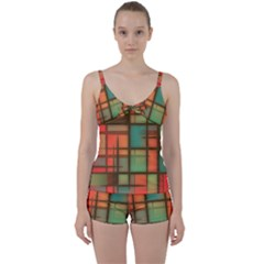 Background Abstract Colorful Tie Front Two Piece Tankini