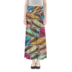 Colorful Painted Bricks Street Art Kits Art Full Length Maxi Skirt by Costasonlineshop