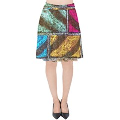 Colorful Painted Bricks Street Art Kits Art Velvet High Waist Skirt by Costasonlineshop