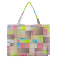 Background Abstract Grid Zipper Medium Tote Bag