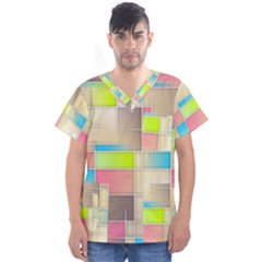 Background Abstract Grid Men s V Neck Scrub Top