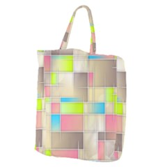 Background Abstract Grid Giant Grocery Zipper Tote