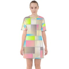 Background Abstract Grid Sixties Short Sleeve Mini Dress