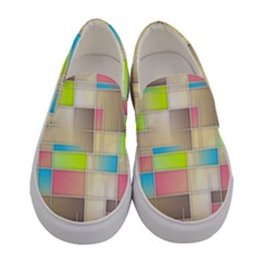 Background Abstract Grid Women s Canvas Slip Ons