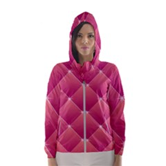 Pink Background Geometric Design Hooded Wind Breaker (women)